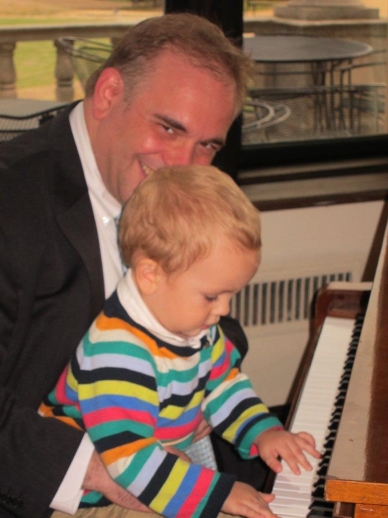 Father and son at the keyboard
